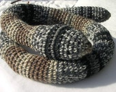 Snake Door Draft Stopper, Striped Toy Snake, Crochet Black and Tan Striped Snake, Window Draft Stopper by CrochetedbyCharlene