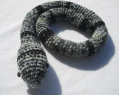 Stuffed Snake Toy Named Charcoal- Black and Gray Striped or Door Draft Stopper