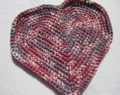 Rose and Blue Crochet Country Hearts  Table Runner Trivets Doily ON SALE