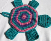 RESERVED - Turtle Pot Holder in Teal Purple and Pink Crochet