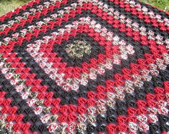 Red, Black and White Granny Square Crocheted Lap Afghan, Cozy Blanket by Charlene