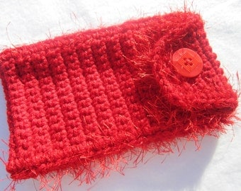 Sunglass Case , Red Glasses Holder, Crochet Purse Accessory, Fun Furry Brightly Colored Eyeglass Case with Button Closure, Mothers Day Gift
