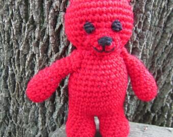 Ruby Red Teddy Bear July Birthstone Crochet, Christmas Teddy Bear, Baby's First Teddy Bear, Shower GIft