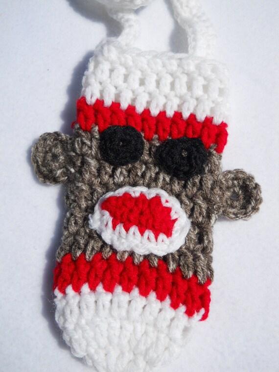 Crocheted Sock Monkey Water Bottle Cozy