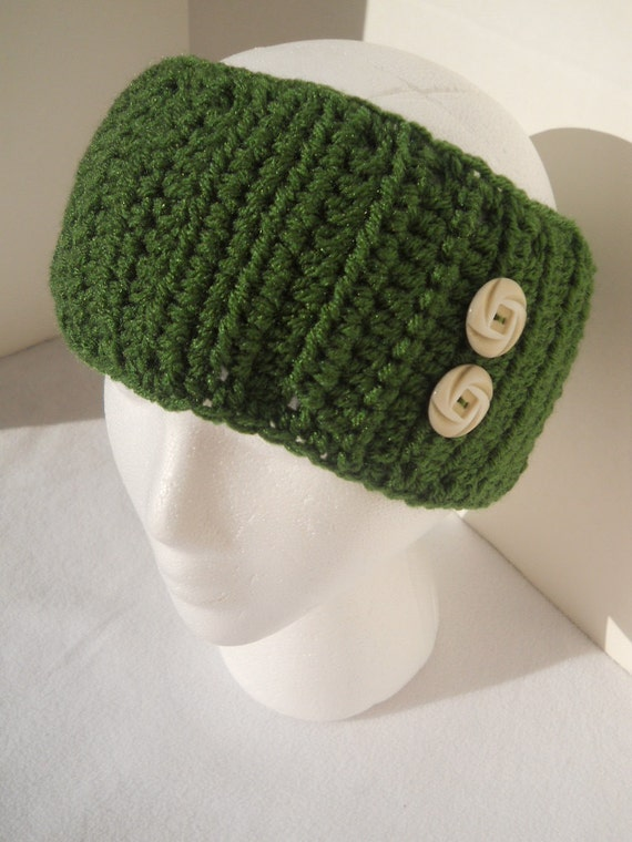 Crocheted Evergreen Headwarmer, Headband, or Earwarmer