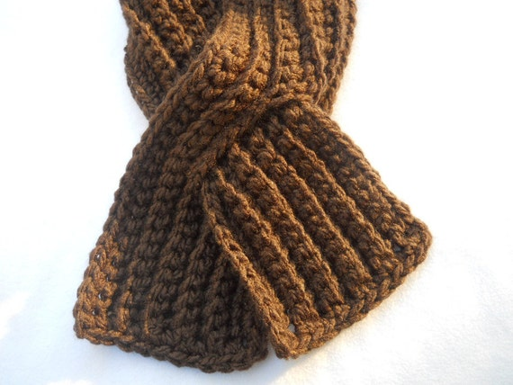 Brown Ribbed Neckwarmer - Unisex with Slit