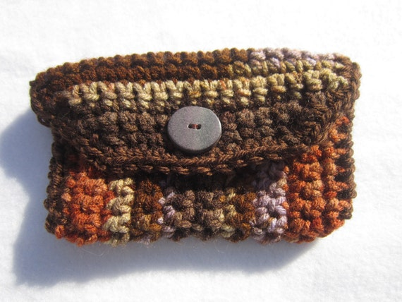 Crocheted Purse Pouch in Shades of Brown