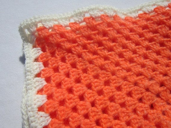 Orange Crocheted Baby Afghan Sherbert Blanket