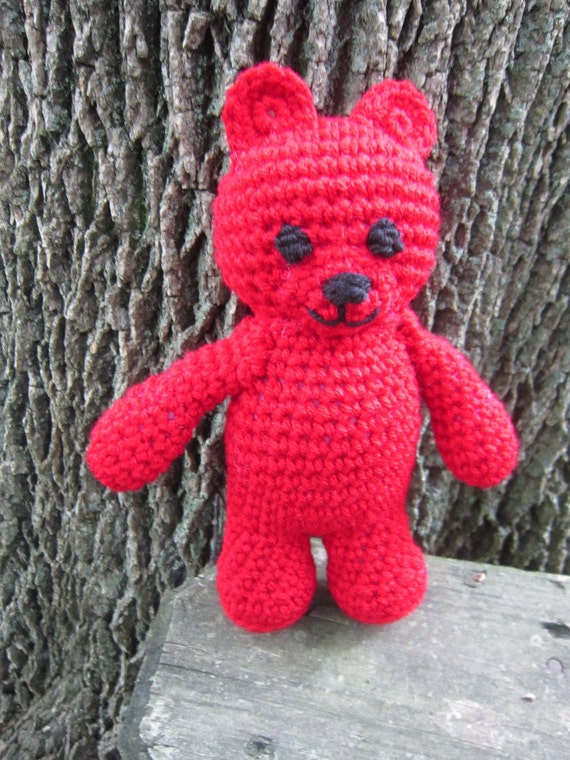 Ruby Red Teddy Bear July Birthstone Crochet