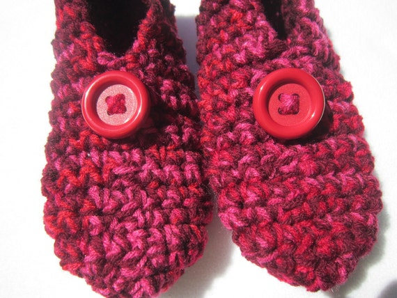 Womens Crochet Slippers in Red Pink and Maroon Size Medium