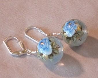 Blue Rose/Clear Tensha Bead Earrings