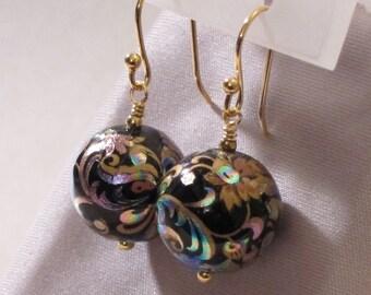 Black Flowers/Swirls Tensha Bead Earrings