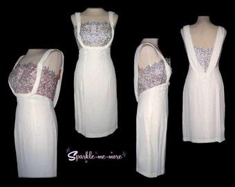 1950s 50s white silver dress jacket cocktail wedding skirt lurex Grecian deadstock never worn M
