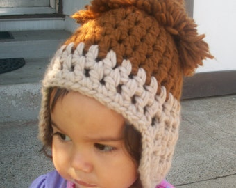 1940s 1950s handmade knit childs wool hat brown tan 40s 30s  kids head topper small