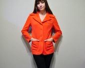 Vintage Orange Blazer, 1970s Bright Orange Patch Pocket Button Front Jacket size S-M