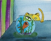 "Cat ACEO Original Watercolor ""His Eye is on the Fish Bowl"""