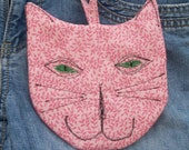 Cat Zipper Pouch/Case for Ipod iPhone Cell Phone Pink Quilted