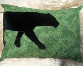 Pillow with Velveteen Black Panther on Green Floral Cotton