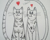 "Cat Art Ink Drawing Original -  ""Love One Another"""