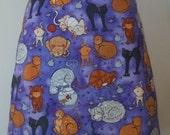 Cat Skirt / Cats on Purple Child's Skirt - Waist 24