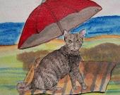 """Cat Art """"Beach Cat"""" / Original Cat Painting 6 x 6 in"""
