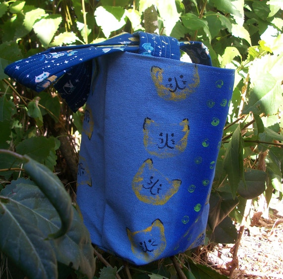 Cats on Blue Tote Bag - Hand Painted Kitty faces