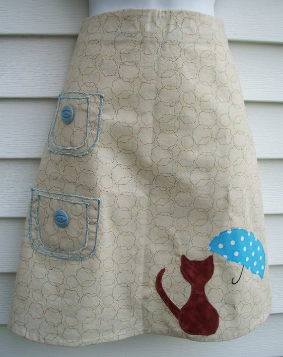 Cat Skirt / Kitty with Umbrella Skirt in Tan and Teal  - Waist 30