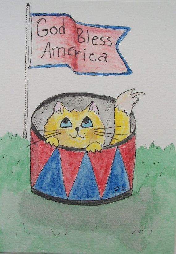 "Cat Art - ""Cat-det Drummer"" - Original Watercolor Pencil ACEO"