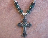 Black Leather Necklace with a Pewter Cross and a Glass Bead with Ceramic Beads, Cross Necklace, Confirmation Necklace, First Communion