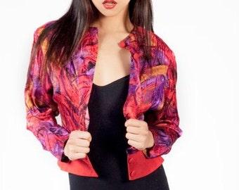 80s Bomber Jacket Vintage Bomber Jacket Women Vintage Jacket Women Cropped Jacket Floral Bomber Jacket Vintage Windbreaker Hipster Bomber