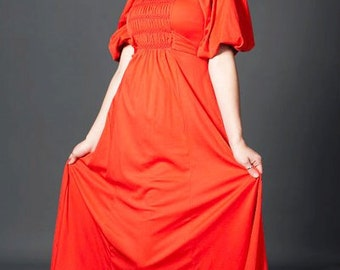 Tall Glass of OJ Vintage Spring Summer Coachella Music Festival Easter Boho Bohemian Stretch Maxi Dress in Orange with Sleeves
