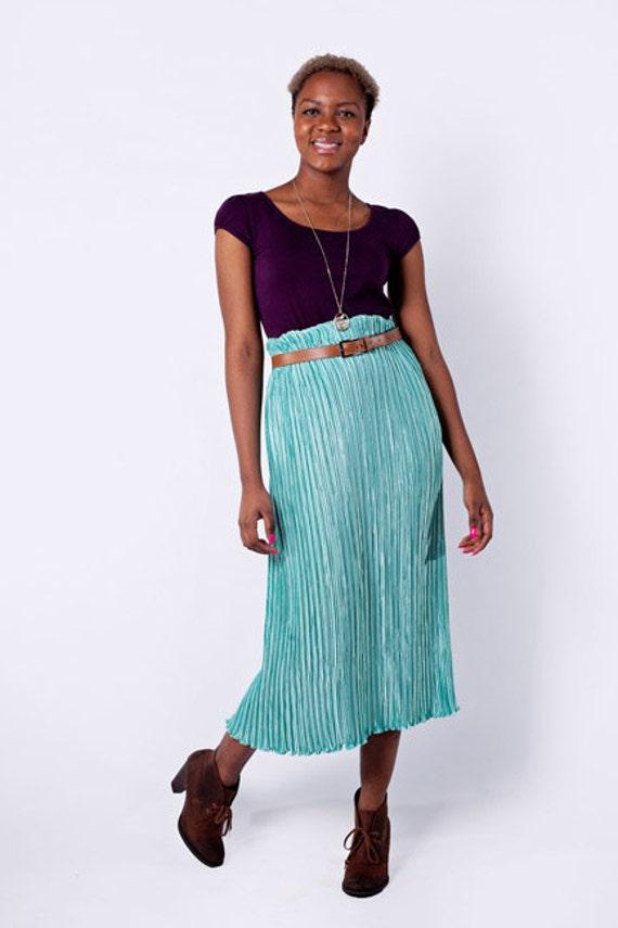 Sale - Mermaid You Look Vintage Textured Midi Skirt in Teal
