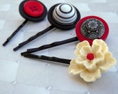 Hair Pins Alice in Wonderland red\/black\/white
