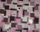 SOFT beautiful brown and pink baby quilt