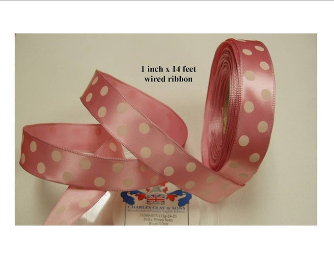 Pink with White Dots Ribbon 1 inch (24 mm) width: Woven Edge English WIRED Single-Face Satin 5 yds (15 ft) for gifts, favors, floral, crafts