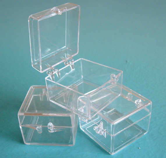 Acrylic Boxes Small : Sale one dozen small clear hinged acrylic display boxes