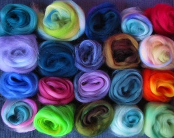 10 or more Color Blend Superwash Sampler Spinners and Needle Felters