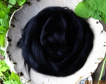 Glossy Deep Black Mohair Combed Top Roving Stunning Fiber Super Fast Shipping!