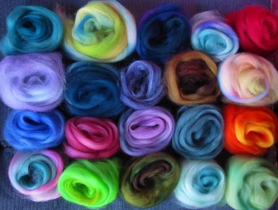 10 or more Color Blend Superwash Sampler Spinners and Felters
