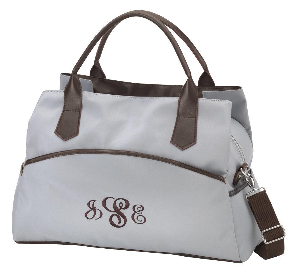personalized weekender bag blue w brown trim