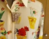 1980s Oversized Floral Motif Silky Blouse Jerri Sherman Collection Saks