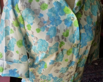 1950s Vintage Blouse Blue Green Gray Floral Casual Blouse