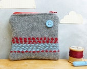 Coin Purse - Grey Red Blue Stripes - Recycled Sweater Wool / Eco Friendly