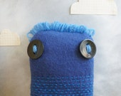 Plush Doll Monster - Blue Felted Upcycled Wool with Embroidered Stripe Design - Eco Friendly