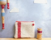 Recycled Coin Purse - Blood Red Embroidered Stripe Design on Cream Wool