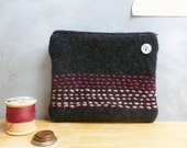 Zipper Coin Purse - Upcycled Wool - Almost Black with Pink & Plum Embroidered Stripe Design