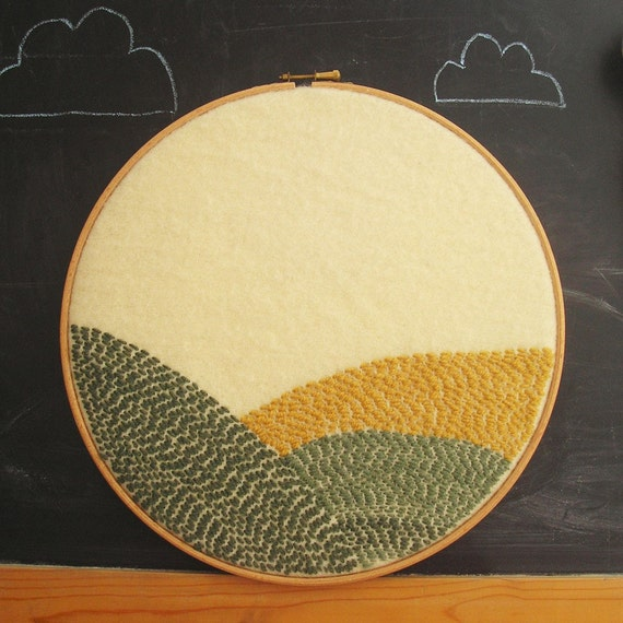 Large art embroidery Fields of Yellow and Green upcycled wool