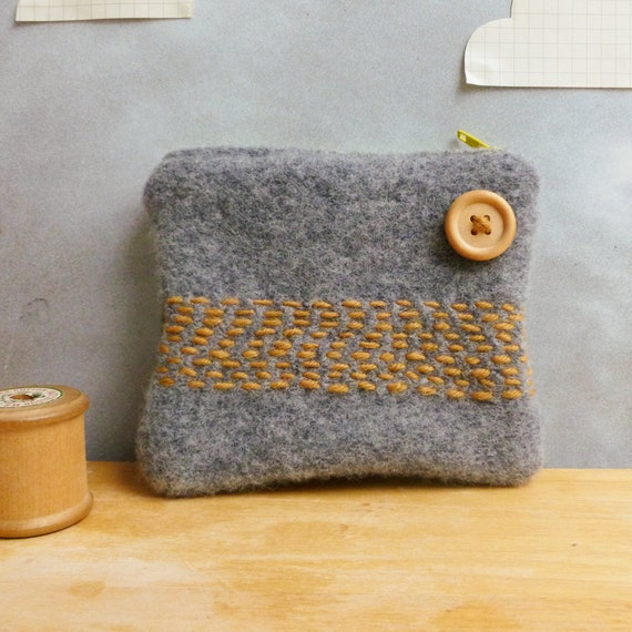 Zippered Coin Purse - Upcycled Felted Wool - Light grey / gray with yellow stripe design