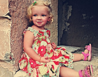 Girls Maxi Dress PDF 3 strap & hem options and a skirt size 12m-10 Instant Download, no waiting