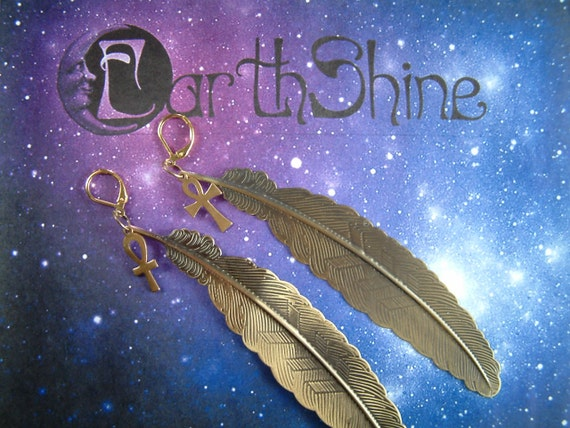 Ankh and Brass feather single earring